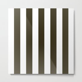 Pullman Green brown - solid color - white vertical lines pattern Metal Print