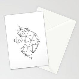 Geometric Wolf (Black on White) Stationery Cards