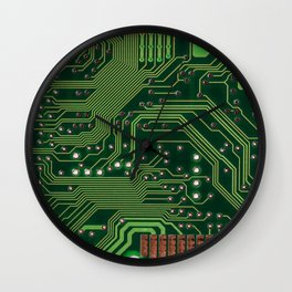 Board computer chip data processing Wall Clock