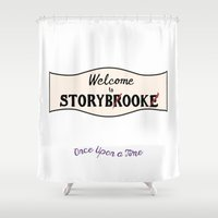 ouat Shower Curtains featuring OUAT | Welcome to Storybrooke sign by CLM Design