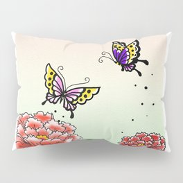 Two peony and two butterflies~牡丹と蝶々~ Pillow Sham