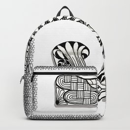 Zentangle J Monogram Alphabet Initials Backpack