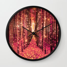 Magical Forest Pink Living Coral Peach Wall Clock
