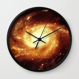 Golden Spiral Galaxy Wall Clock