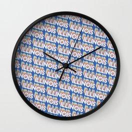 Illinois, USA Trendy Rainbow Text Pattern (Blue) Wall Clock