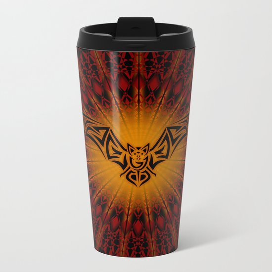 Bat and Mandala Halloween Metal Travel Mug