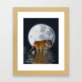 Moonlite Night Tiger Framed Art Print