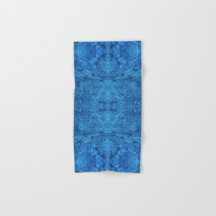 Turquoise blue swirls doodles Hand & Bath Towel