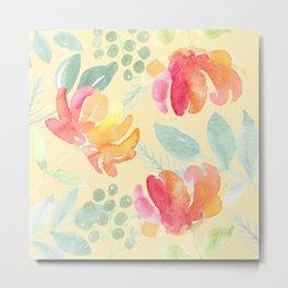 Peachy Watercolor Peony Pattern Metal Print
