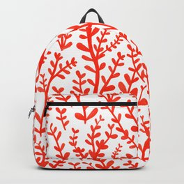 Red and White Floral Gouache Pattern Backpack