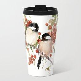 Chickadee Bird Vintage Bird Artwork Travel Mug