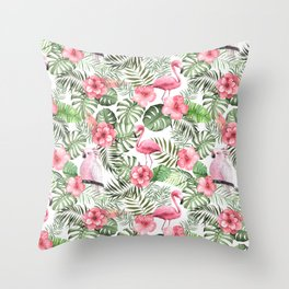 Watercolor Tropical Leaves Flowers Flamingo Cockatoo Throw Pillow