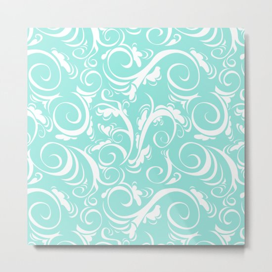 Blue Tiffany Floral Metal Print