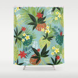Monstera, Palm Tropical Leaves Shower Curtain