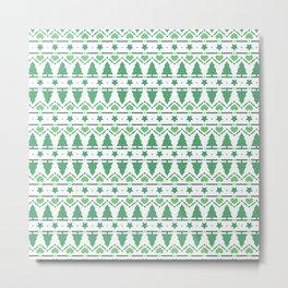 Christmas Tree Pattern- Green Metal Print
