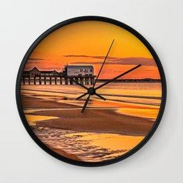 Pier at Sunrise Wall Clock