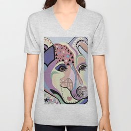 Jack Russell Terrier in Denim Colors Unisex V-Neck