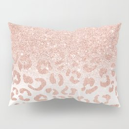 Trendy modern faux rose gold glitter ombre leopard pattern Pillow Sham