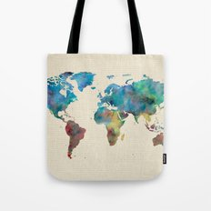 World Map Watercolor Linen Cotton Texture Blue Red Yellow Green Tote Bag