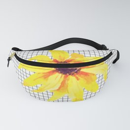 Watercolor Flower on Grid Fanny Pack