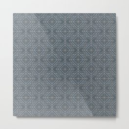 Minimal Geometric Pattern on Peninsula Blue Background Metal Print