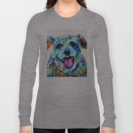 Colorful Dog Art - Smile - By Sharon Cummings Long Sleeve T-shirt