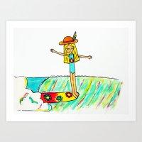 Hang 10 Lady Slider Art Print