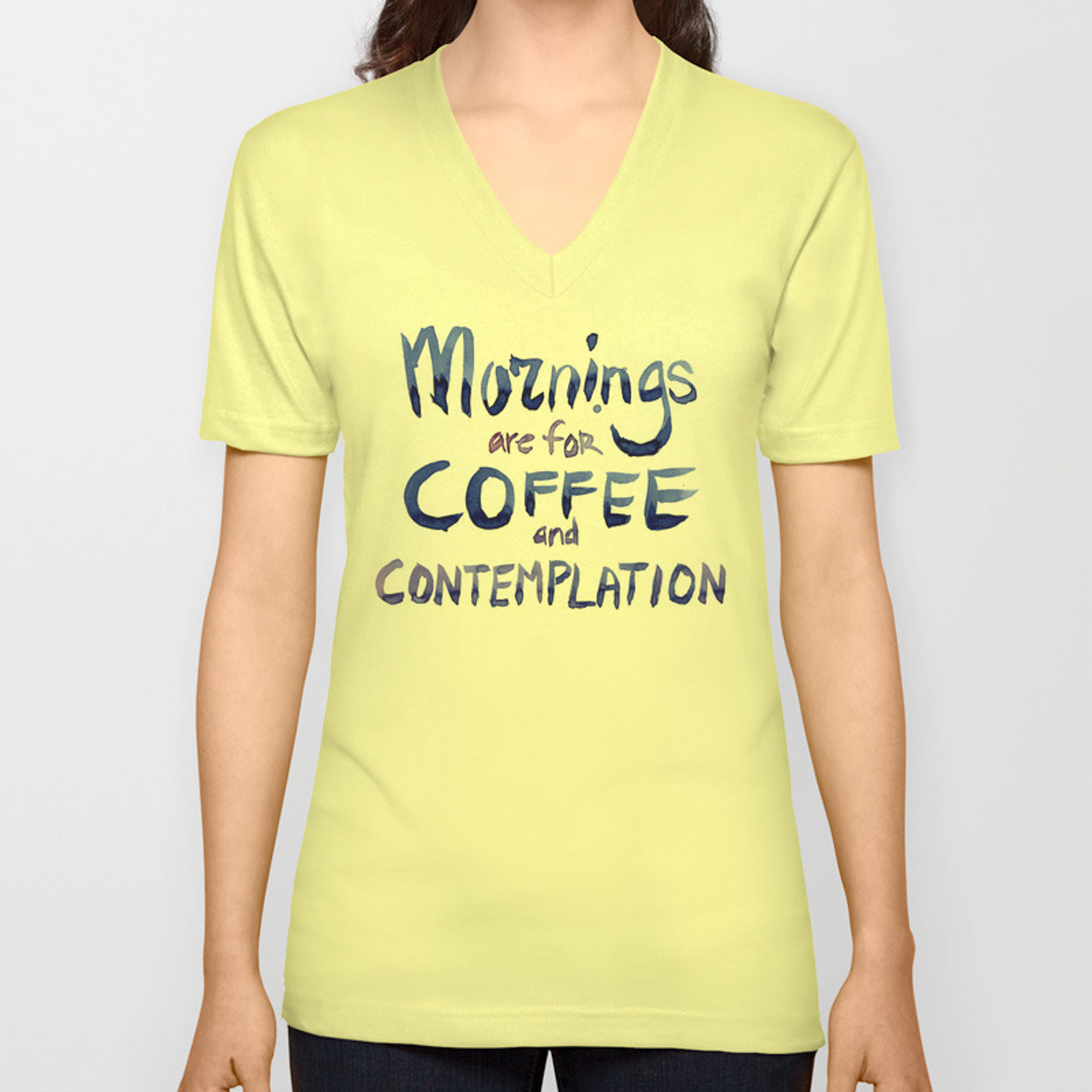 Mornings Are For Coffee And Contemplation Unisex V Neck By Olechka