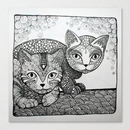Sister love - kitten style Canvas Print