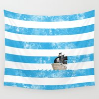 pirates Wall Tapestries featuring Pirates Love Stripes by Jonah Makes Artstuff