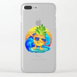 Dabbing Pineapple Surfer Aloha Beaches Summer Hawaii  Clear iPhone Case