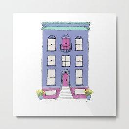 Periwinkle Row House Metal Print