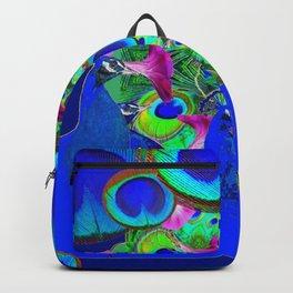 BLUE PEACOCKS & PURPLE MORNING GLORIES Backpack