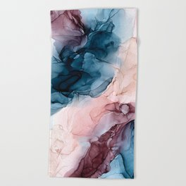 Pastel Plum, Deep Blue, Blush and Gold Abstract Painting Beach Towel