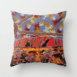 Uluru (Ayers Rock) Authentic Aboriginal Art Throw Pillow