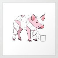 piglet Art Prints featuring Piglet by Doctor Hue