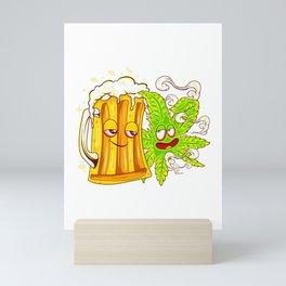 Happy Couple Wasted Funny Beer Mug and Cannabis Leaf Mini Art Print