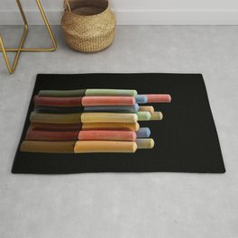 Colorful crayons for drawing on asphalt Rug