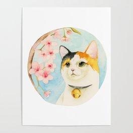 """Hanami"" - Calico Cat and Cherry Blossom Poster"