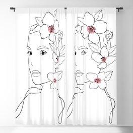 linear woman portraits Blackout Curtain