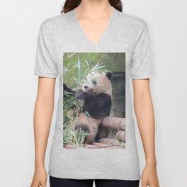 Panda eating bambou Unisex V-Neck