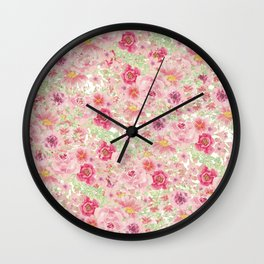 Pastel pink red watercolor hand painted floral Wall Clock