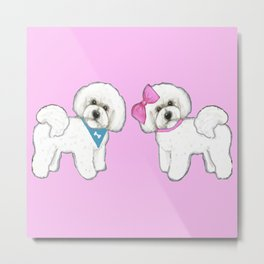 Bichon Frise Dogs in love- wearing pink and blue Metal Print