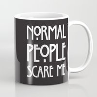 ahs Mugs featuring Normal People Scare Me AHS by Double Dot Designs
