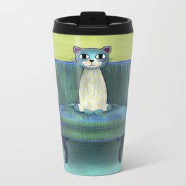 Elegant Cat green Metal Travel Mug