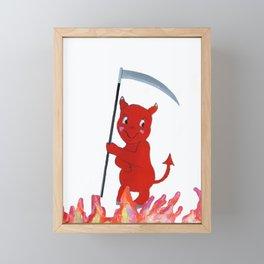 Baby Devil in the Flames Framed Mini Art Print