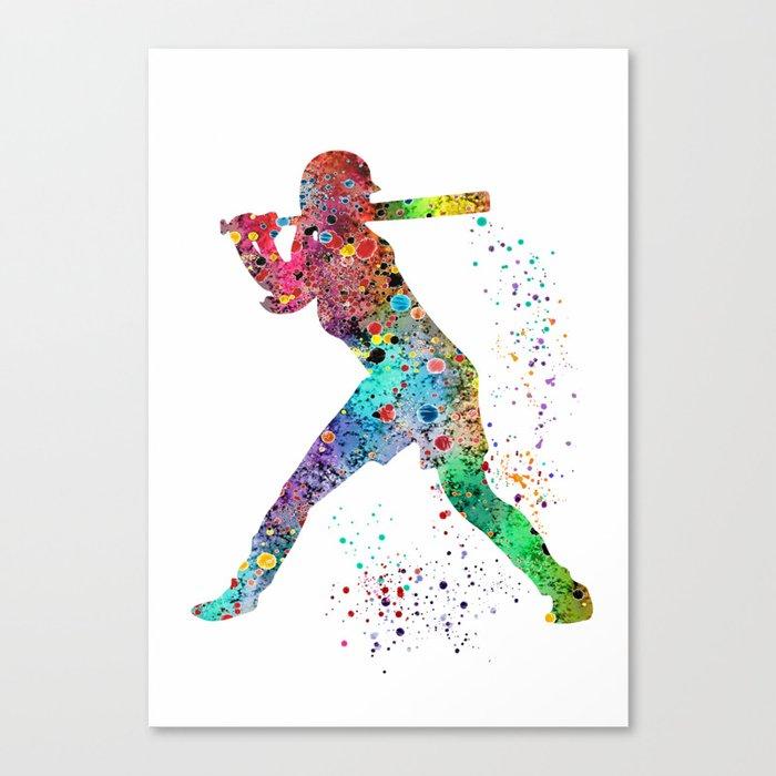 Baseball Softball Player Sports Art Print Watercolor Print Girl's softball Leinwanddruck