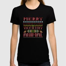 merry christmas ya filthy animal Womens Fitted Tee Black MEDIUM