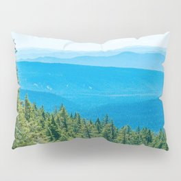 Artistic Brush // Grainy Scenic View of Rolling Hills Mountains Forest Landscape Photography Pillow Sham