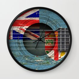 Old Vintage Acoustic Guitar with Fiji Flag Wall Clock